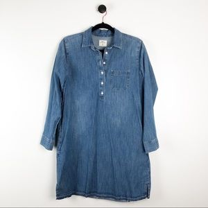 Gap Released Hem Denim Jean Shirt Dress Blue M